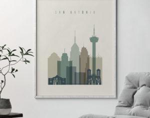 San Antonio print skyline earth tones 1 second