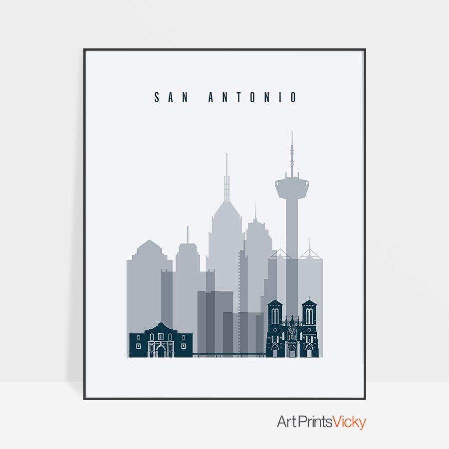 San Antonio skyline poster grey blue