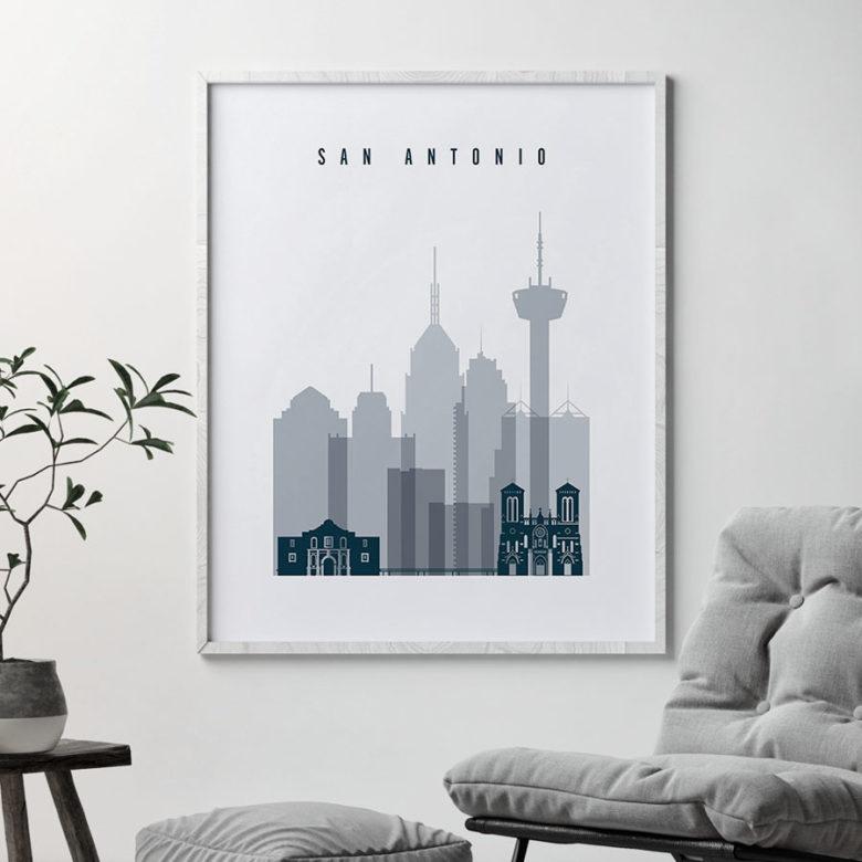 San Antonio skyline poster grey blue second