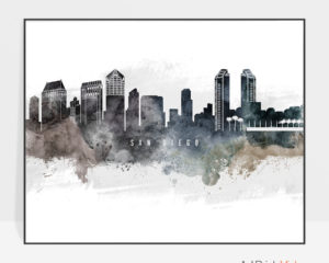 San Diego art poster watercolor