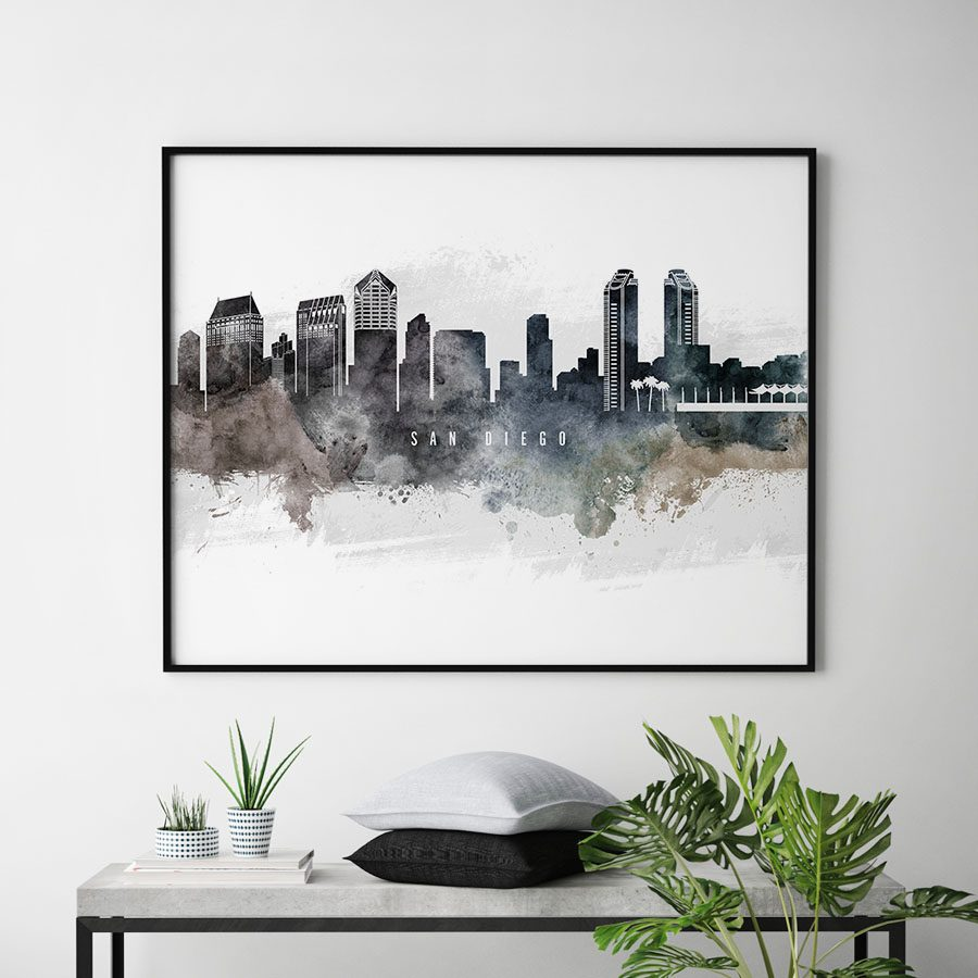 San Diego art poster watercolor second