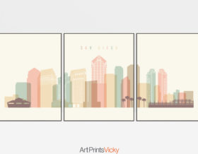 San Diego skyline set of 3 prints pastel cream