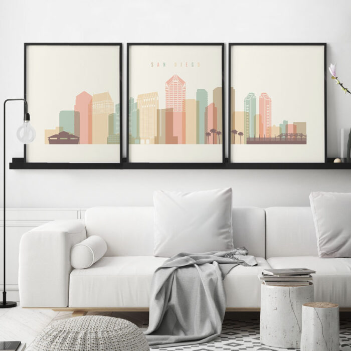 San Diego skyline set of 3 prints pastel cream second