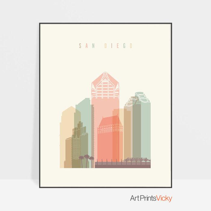 San Diego art print skyline pastel cream