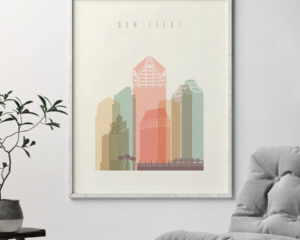 San Diego art print skyline pastel cream second