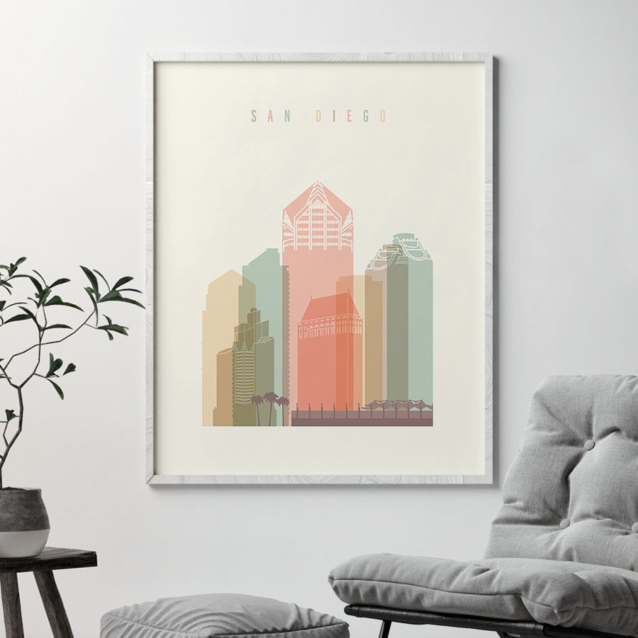 San Diego art print skyline pastel cream second