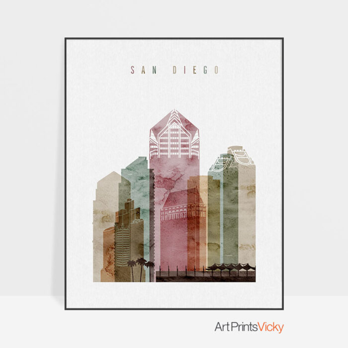 San Diego skyline poster watercolor 1