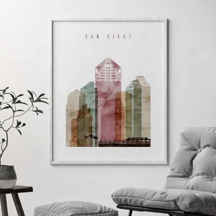 San Diego skyline poster watercolor 1 second