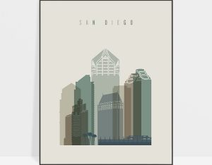 San Diego print skyline earth tones 1