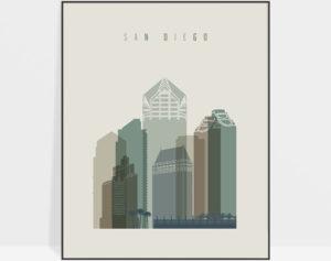 San Diego print skyline earth tones 1