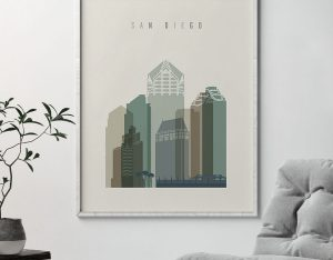 San Diego print skyline earth tones 1 second