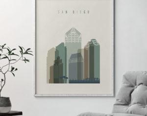 San Diego print skyline earth tones 1 second