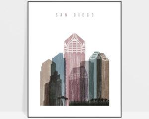 San Diego skyline poster distressed 1