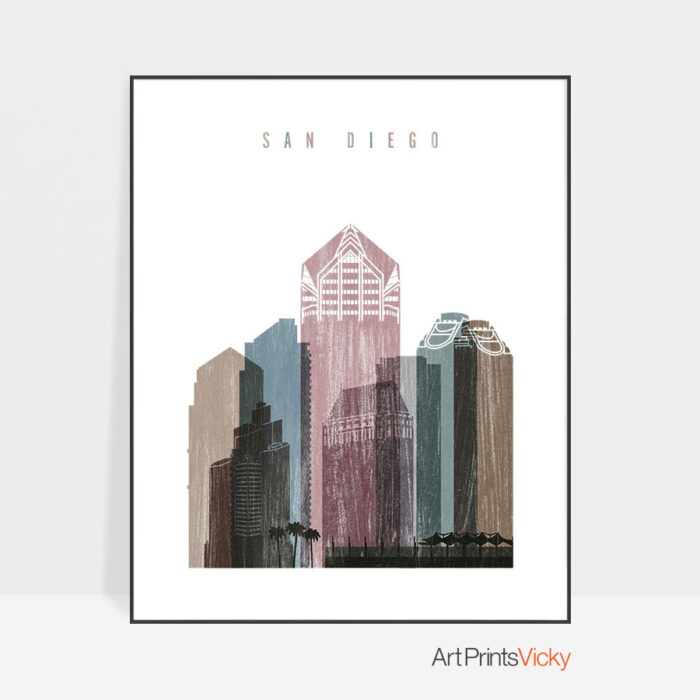 San Diego skyline poster distressed 1