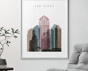 San Diego skyline poster distressed 1 second
