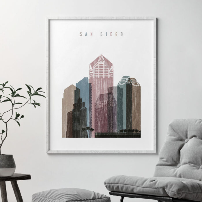 San Diego skyline poster distressed 1 second
