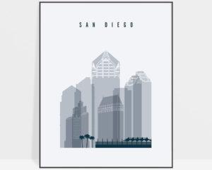 San Diego skyline poster grey blue