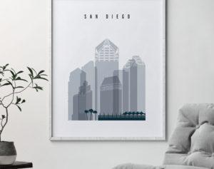 San Diego skyline poster grey blue second