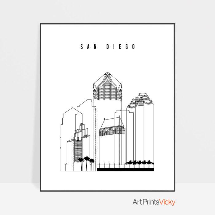 San Diego skyline black and white print