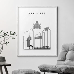 San Diego skyline black and white print second