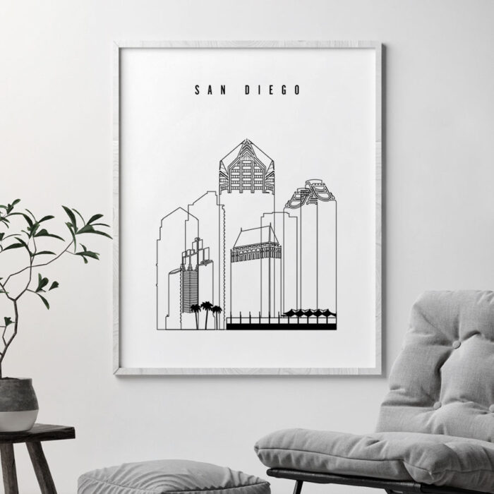 San Diego skyline black and white print second
