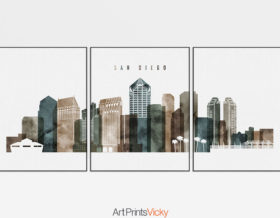 San Diego set of 3 prints skyline watercolor 2