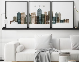 San Diego set of 3 prints skyline watercolor 2 second
