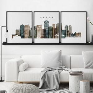 San Diego set of 3 prints skyline watercolor 2 second