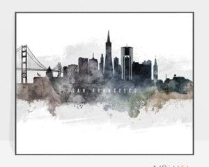 San Francisco art poster watercolor