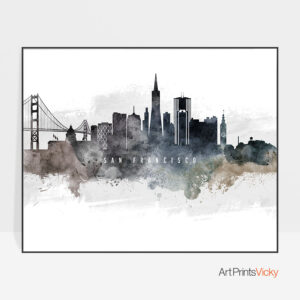 San Francisco art poster watercolor