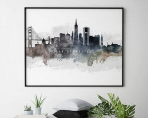 San Francisco art poster watercolor second
