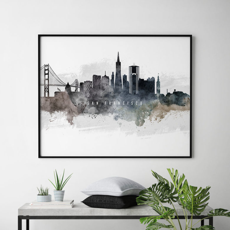 San Francisco art poster watercolor second