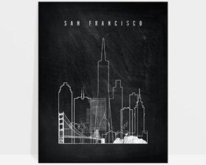 San Francisco chalkboard black white skyline print