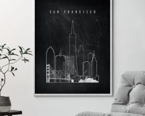 San Francisco chalkboard black white skyline print second