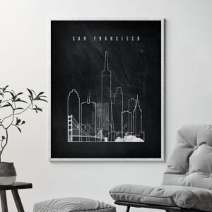 San Francisco chalkboard black white skyline print second
