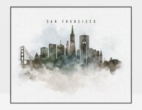 San Francisco cityscape art poster watercolor