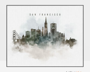 San Francisco cityscape art poster watercolor