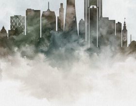 San Francisco cityscape art poster watercolor deatil