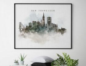 San Francisco cityscape art poster watercolor second