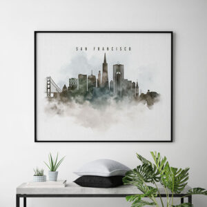 San Francisco cityscape art poster watercolor second