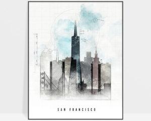 San Francisco skyline art print urban