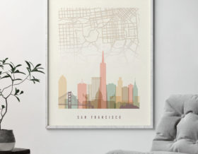 San Francisco map print poster pastel cream second
