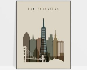 San Francisco art print earth tones 3