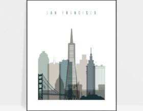 San Francisco art print skyline earth tones 4