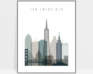 San Francisco art print skyline earth tones 4
