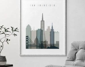 San Francisco art print skyline earth tones 4 second