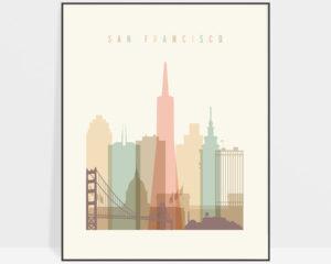 San Francisco skyline poster pastel cream