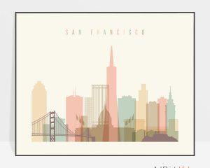 San Francisco travel poster pastel cream landscape