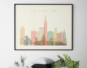 San Francisco travel poster pastel cream landscape second