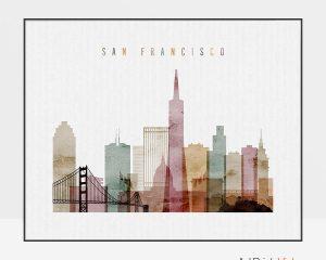 San Francisco poster watercolor 1 landscape